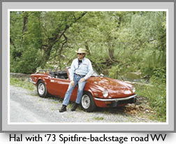 Hal with '73 Spitfie-backstage road WV